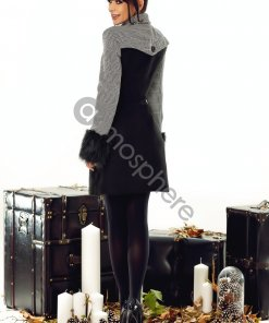 fekete kockas szovet kabat