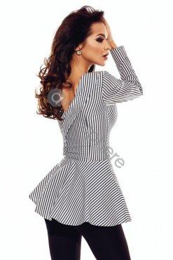csikos peplumos ing bluz szürke fehér