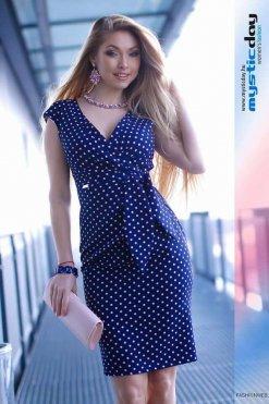 betty pöttyös kék púder ruha mystic day
