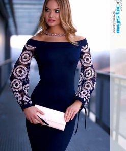 himzett csipkés ujjú kék ruha mystic day