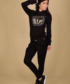 fekete feliratos felső pulóver la pierre
