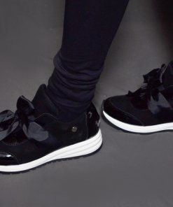 bőr fekete masnis cipő claudio rosetti