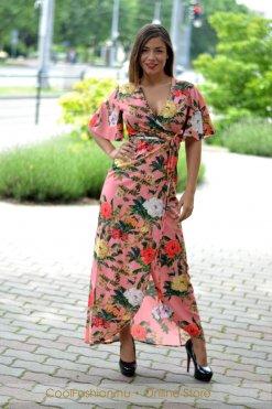 megkotos viragos maxi ruha