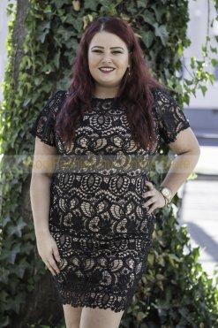 molett fekete drapp horgolt csipke ruha