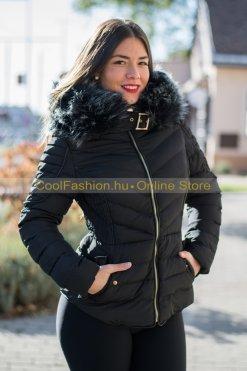 fekete ,mustár szőrmés steppelt kabát debrecen