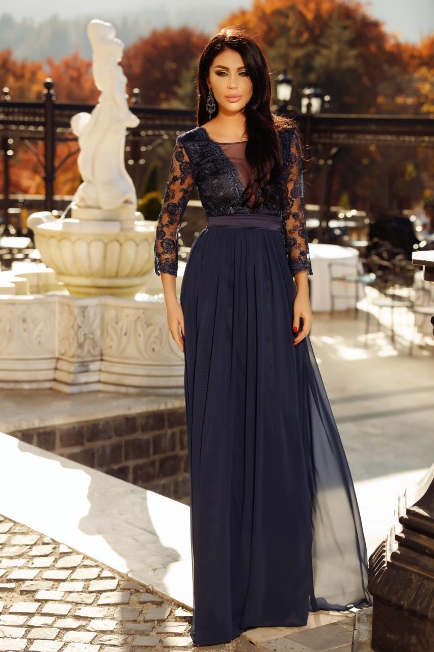 Görög 3D virágos levendula lila maxi ruha - Cool Fashion